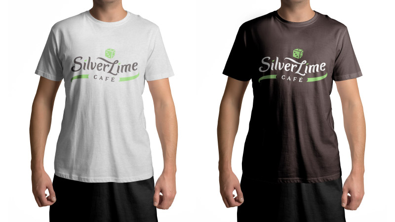 Silver Lime Cafe visual brand identity - staff T-shirts