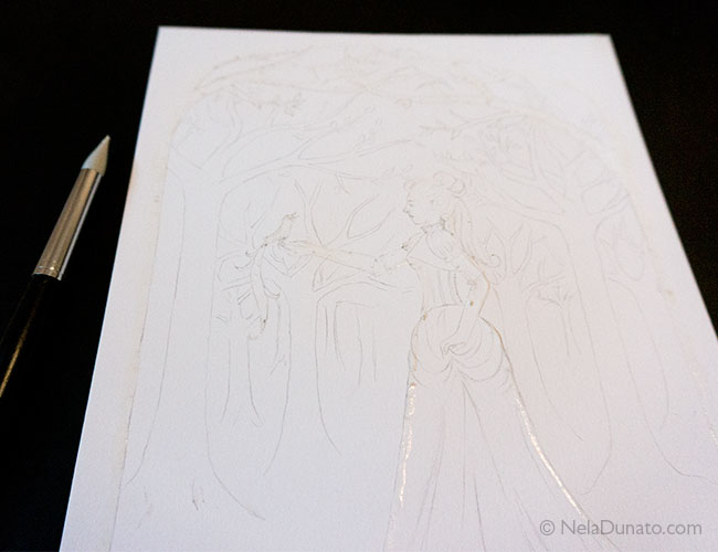 Drawing with masking fluid, and the rubber shaper I use to apply the fluid
