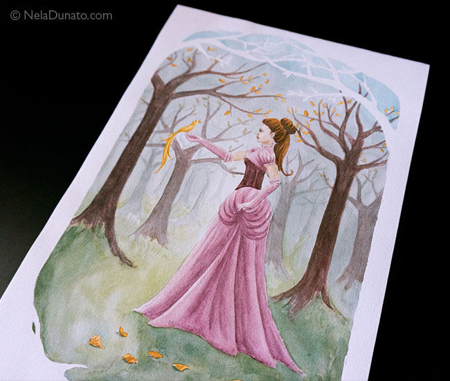 Watercolor fairytale illustration 'Sing Me Of Better Times' by Nela Dunato