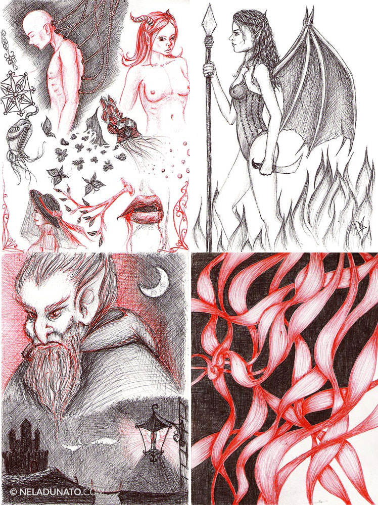 Red and black ballpoint pen sketches by Nela Dunato