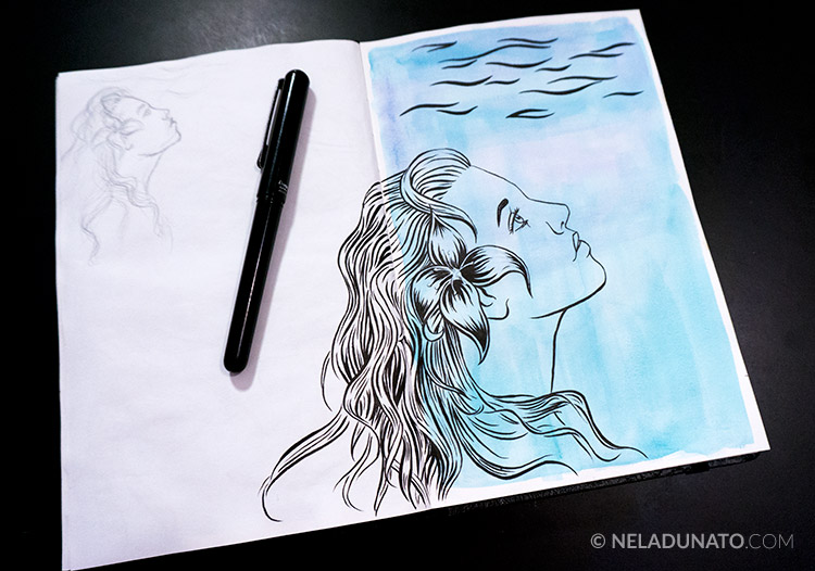 Aqua Lady ink drawing over a watercolor wash