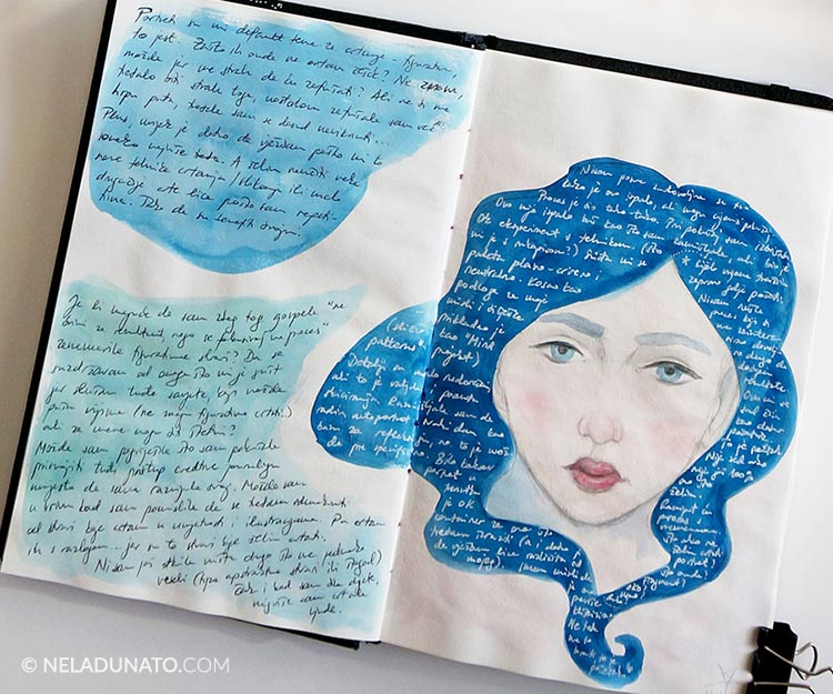 Sketchbook page - Portrait with a journal entry