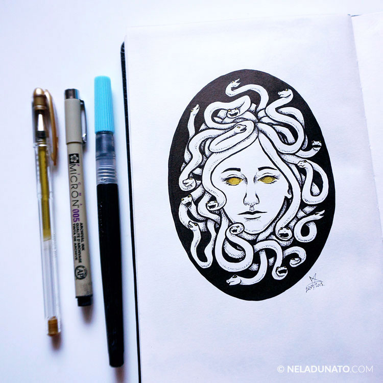 Medusa sketchbook drawing - ink and gel pen