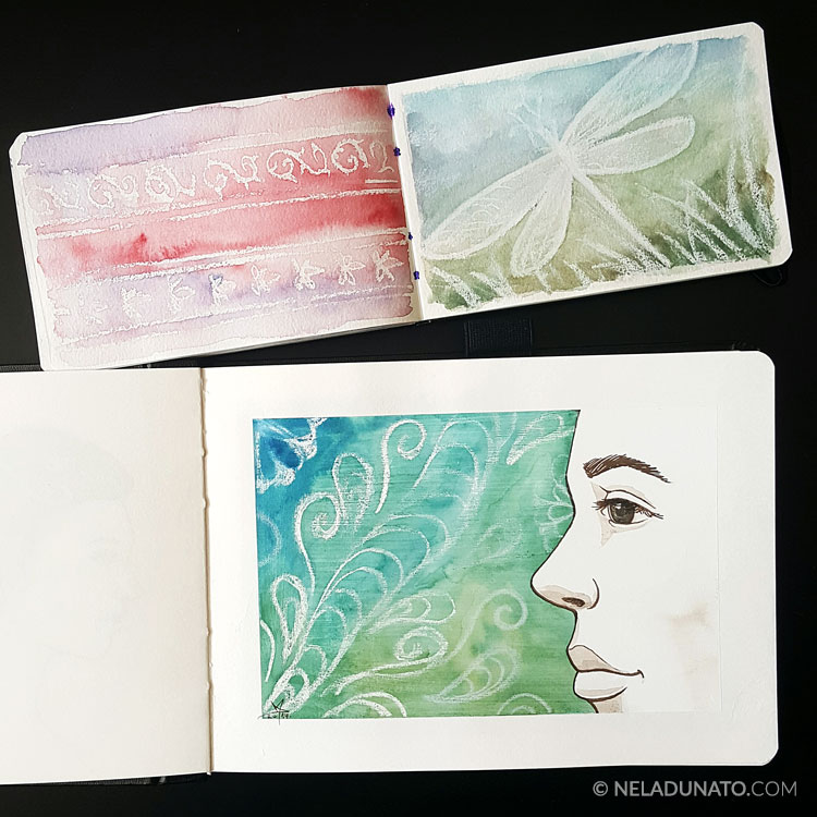 Mixed media art journal sketchbooks by Nela Dunato - wax pastel and watercolor