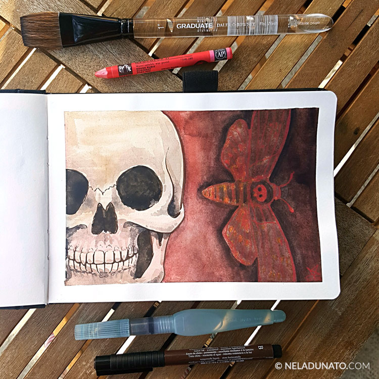 Mixed media art journal sketchbook by Nela Dunato: Death's Head Hawkmoth