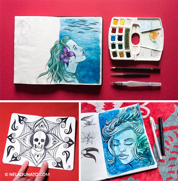 Sketchbook photos - red background