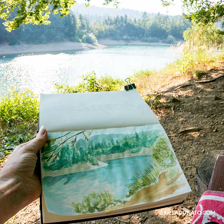Sketchbook photos - Lake watercolor sketch