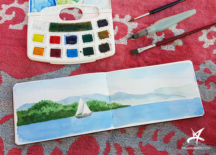 Sketchbook watercolor seascape with a sailboat