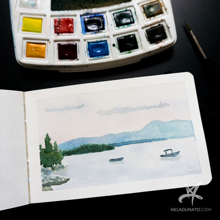 Sketchbook watercolor seascape