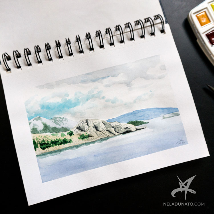 Sketchbook watercolor seascape: Baska