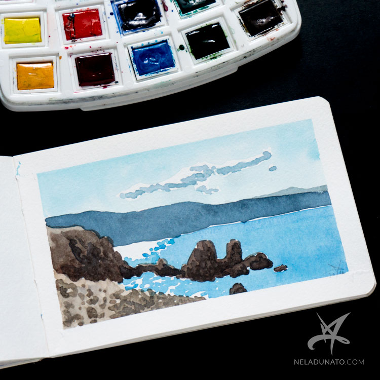 Sketchbook watercolor seascape: Porat