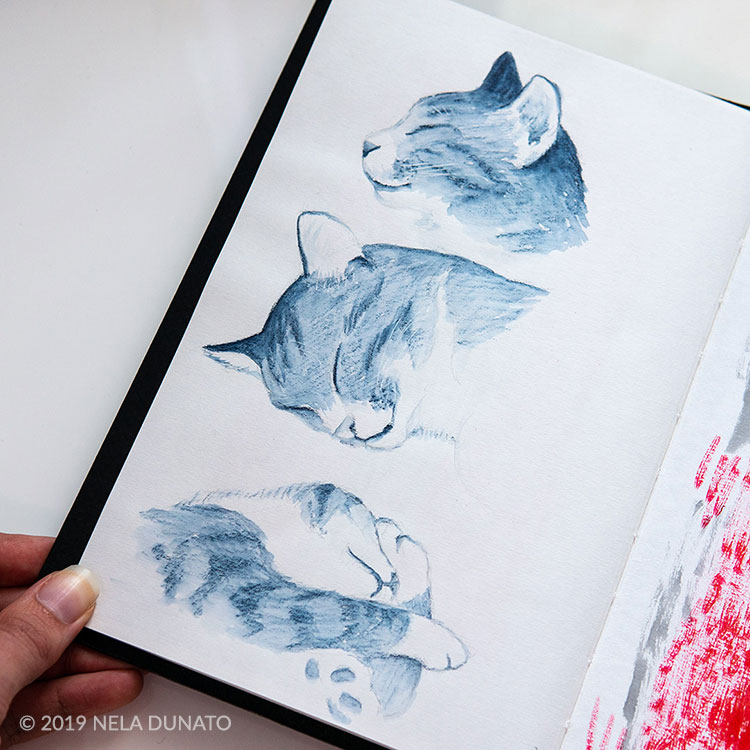 Sleepy kitties sketch by Nela Dunato