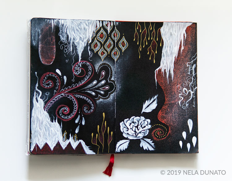 Art journal spread on black gesso