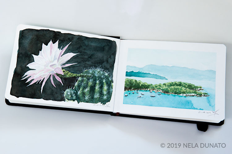 Watercolor sketches of a moonlight cactus and a small bay by Nela Dunato