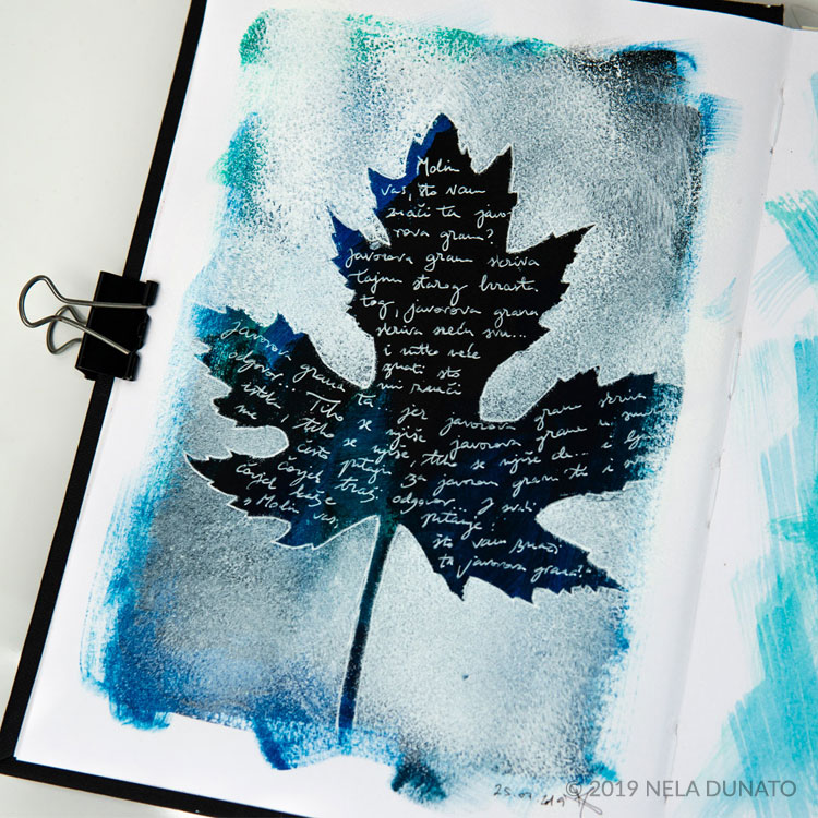 Nature journal sketchbook - leaf stencil