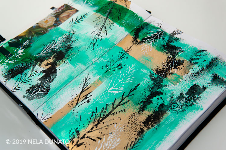 Nature journal sketchbook - printing with leaves
