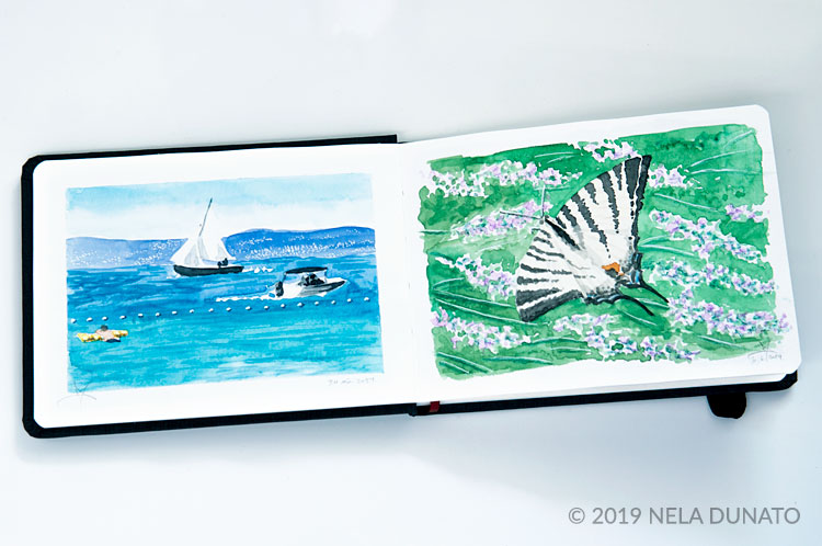 Watercolor sketches of a swallowtail butterfly and boats on the sea by Nela Dunato