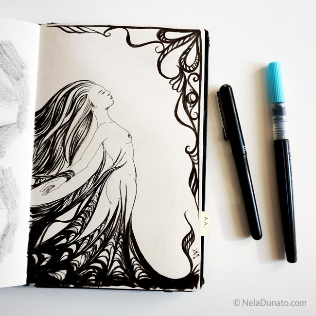 Sketchbook page Tangled by Nela Dunato, brush pen and fineliner