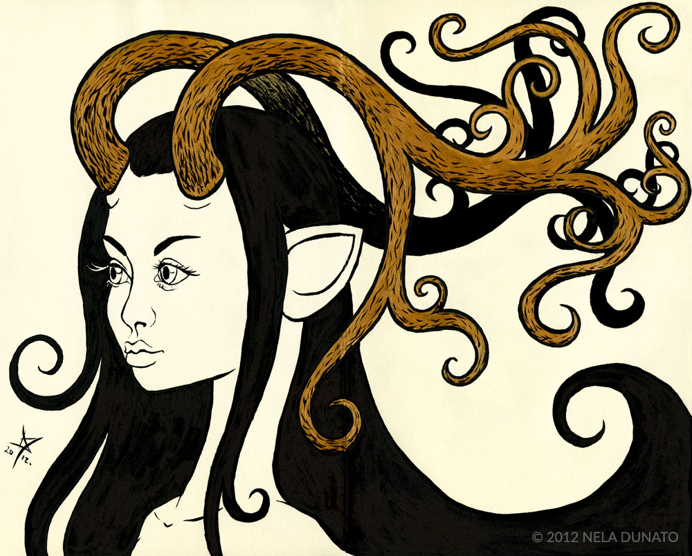 Antler Girl sketch - Brush pen and gold paint marker by Nela Dunato