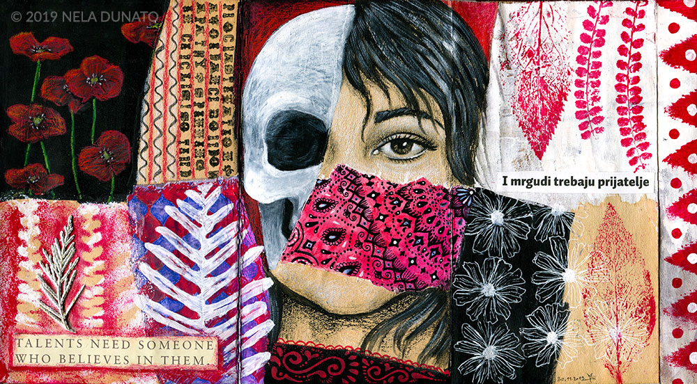 Fragments mixed media art journal by Nela Dunato
