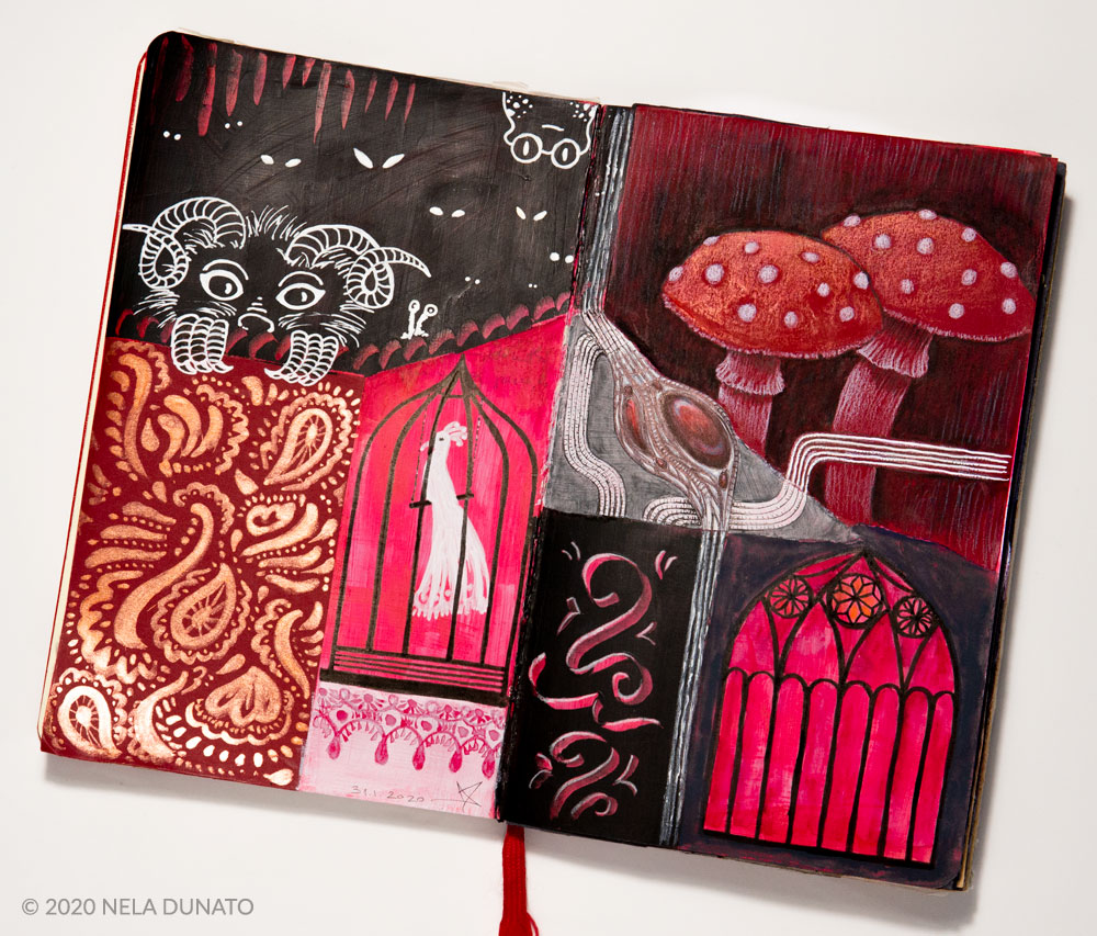 Fragments II mixed media art journal by Nela Dunato