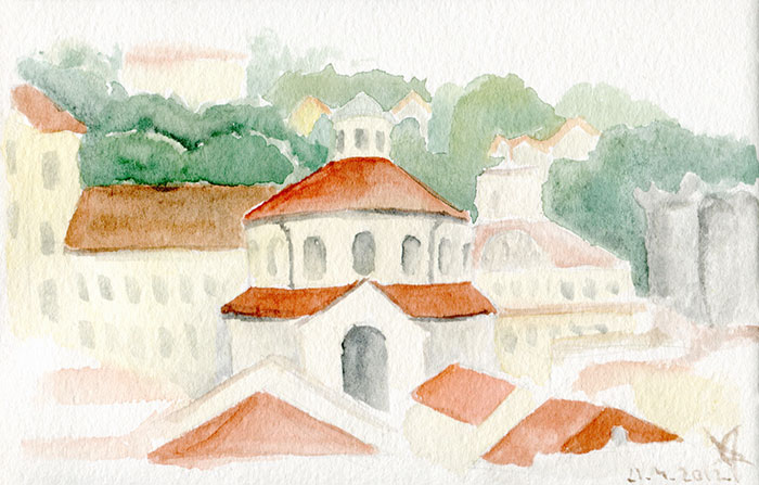 Rijeka roofs with St Vitus cathedral watercolor sketch by Nela Dunato