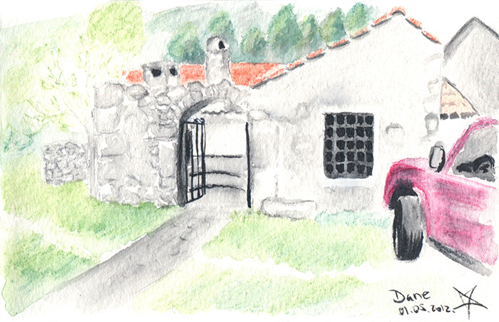 Friend's house at Dane watercolor sketch by Nela Dunato