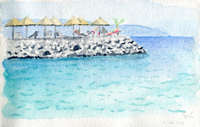 Sunset beach Njivice watercolor sketch by Nela Dunato