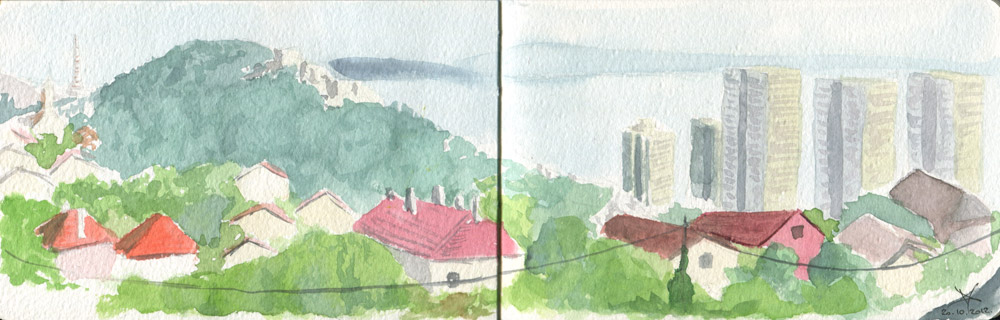 Rijeka cityscape panorama watercolor sketch by Nela Dunato