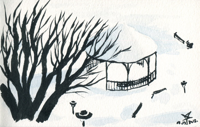 Gazebo in the snow watercolor sketch by Nela Dunato