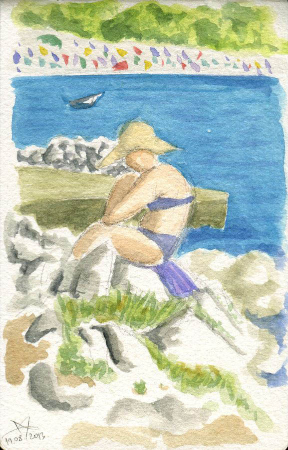 Lady sitting on the rocks watercolor sketch by Nela Dunato