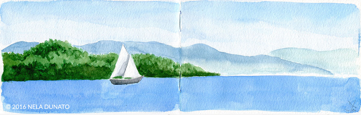 Seascape with a sailboat panorama watercolor sketch by Nela Dunato