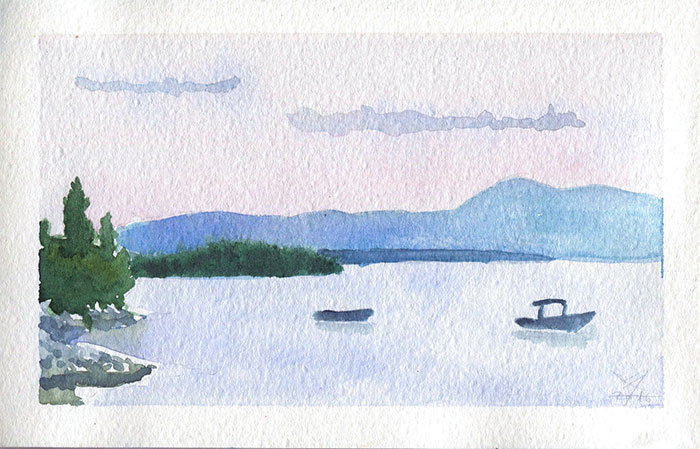 Hazy dusk seascape in Njivice watercolor sketch by Nela Dunato