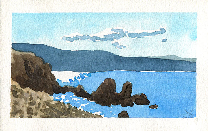 Rocky beach seascape watercolor sketch by Nela Dunato