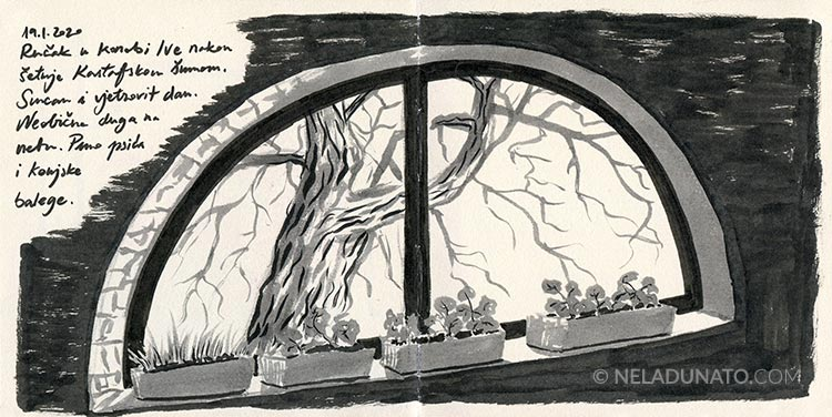 Sketchbook page – Arched window