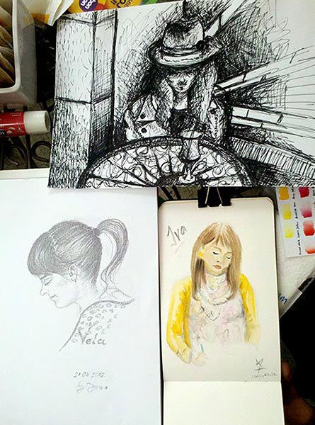 SketchCrawl portraits in pencil, ink and watercolor