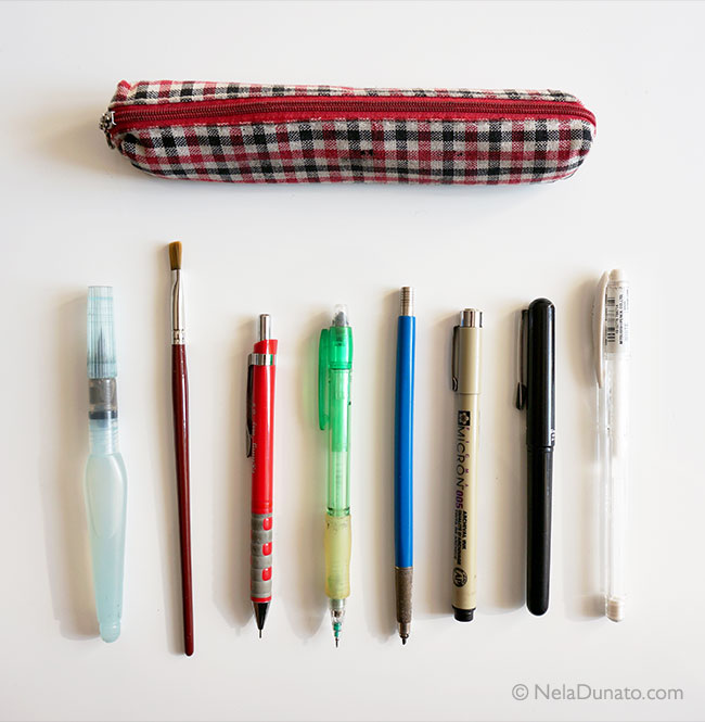 My pencil case with sketching tools