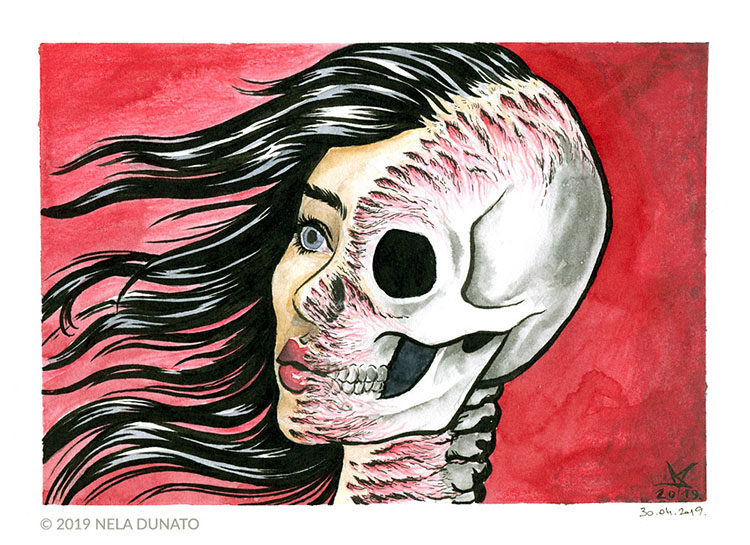 Skin deep ink and watercolor sketch by Nela Dunato