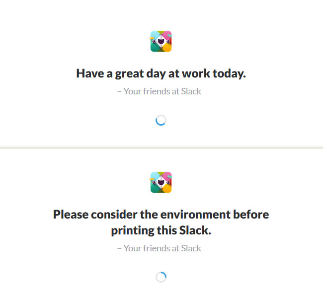 Slack welcome messages
