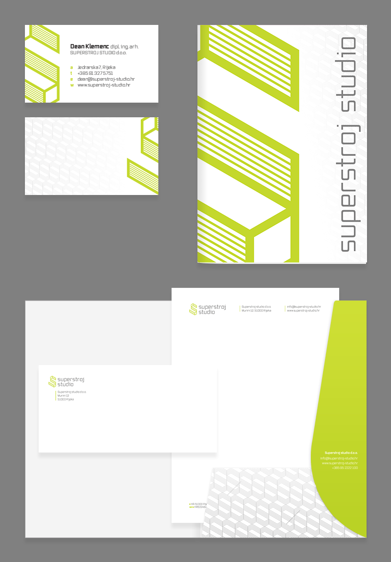 Superstroj studio business cards and stationery