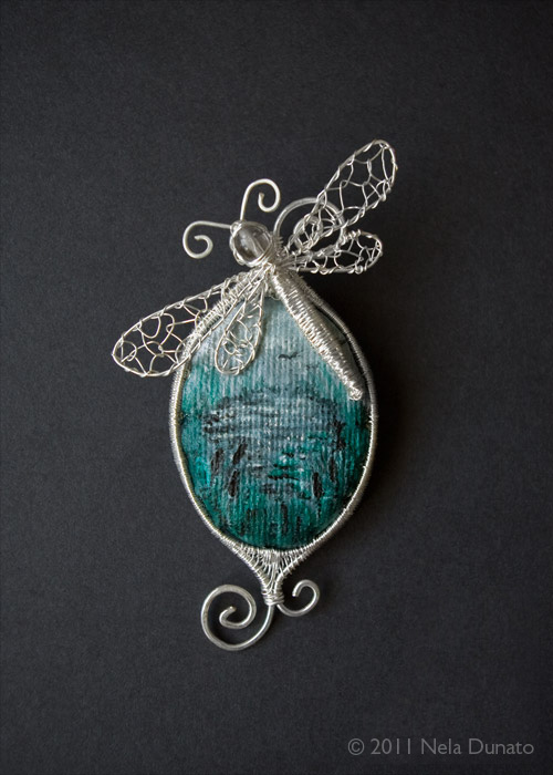 Swamp wire wrap and canvas brooch