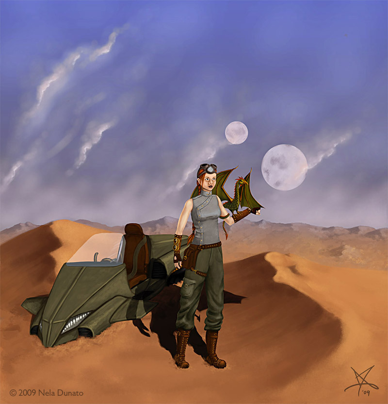 The Desert - Steampunk girl with a basilisk