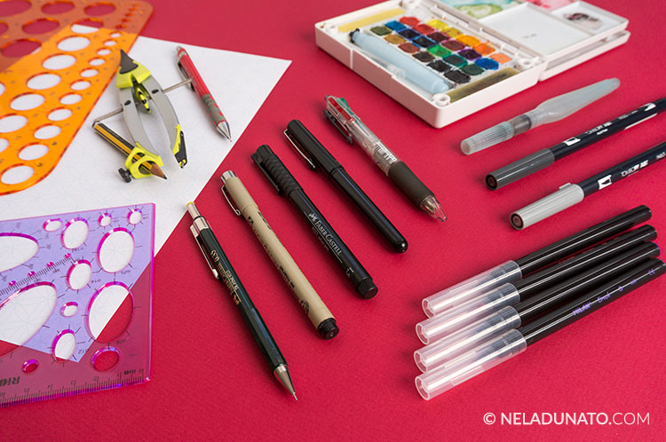 Sketching tools: pencils, pens, markers, watercolor and templates