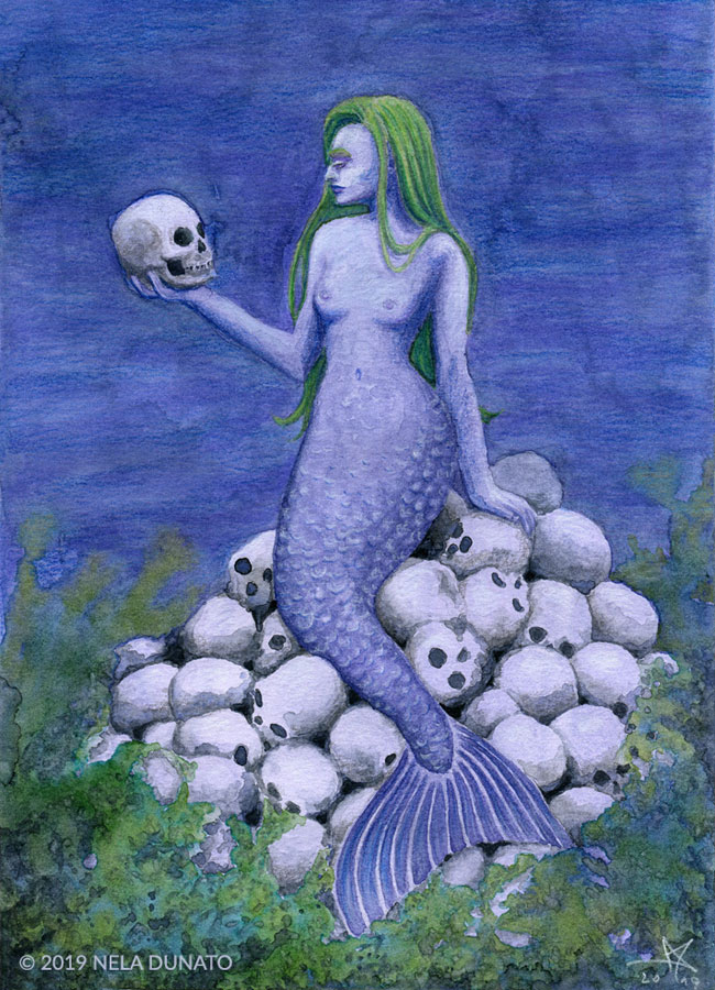 Trophy - watercolor and colored pencil drawing for Mermay 2019