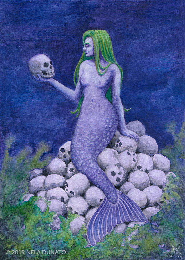 The Trophy – mixed media mermaid painting