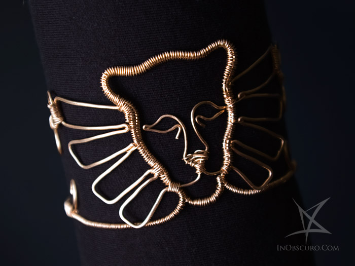 Winged lioness bronze wire wrap armlet by Nela Dunato