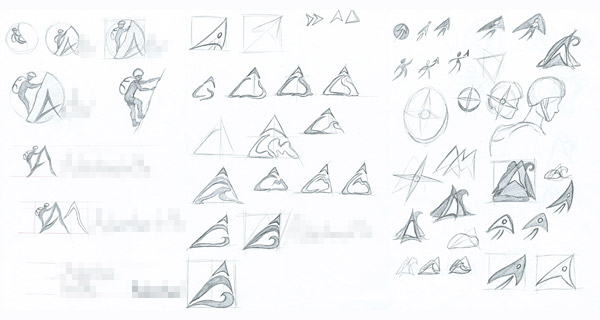 Rough logo concepts on paper