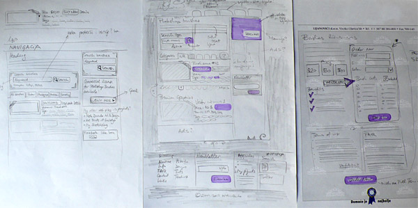 Website wireframes on paper