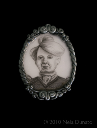 Zagorka drawing polymer clay brooch